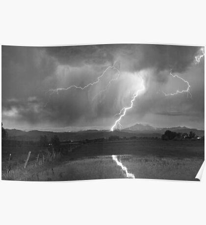 Lightning Striking Longs Peak Foothills  3BW Poster