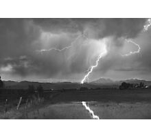 Lightning Striking Longs Peak Foothills  3BW Photographic Print