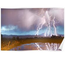 Lightning Striking Longs Peak Foothills 4 Poster
