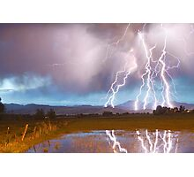 Lightning Striking Longs Peak Foothills 4 Photographic Print