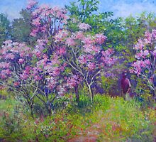 Blooming mountain laurels by Julia Lesnichy