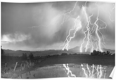 Lightning Striking Longs Peak Foothills 4BW by Bo Insogna