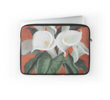 Calla Lilies On A Red Background Laptop Sleeve