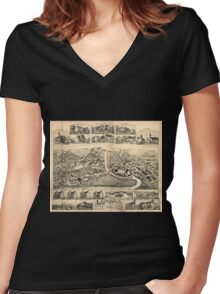 Panoramic Maps Lonsdale Rhode Island 1888 Women's Fitted V-Neck T-Shirt