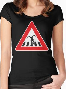 Caution - Necromorph Crossing Women's Fitted Scoop T-Shirt