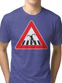 Caution - Necromorph Crossing Tri-blend T-Shirt