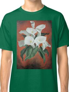Calla Lilies On A Red Background Classic T-Shirt