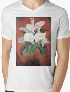 Calla Lilies On A Red Background Mens V-Neck T-Shirt