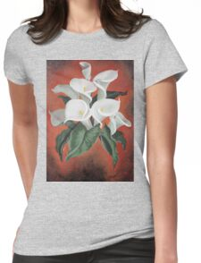 Calla Lilies On A Red Background Womens Fitted T-Shirt