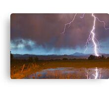 Lightning Striking Longs Peak Foothills 5 Canvas Print