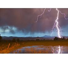 Lightning Striking Longs Peak Foothills 5 Photographic Print