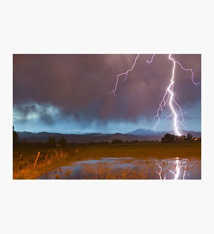 Lightning Striking Longs Peak Foothills 5 Photographic Print