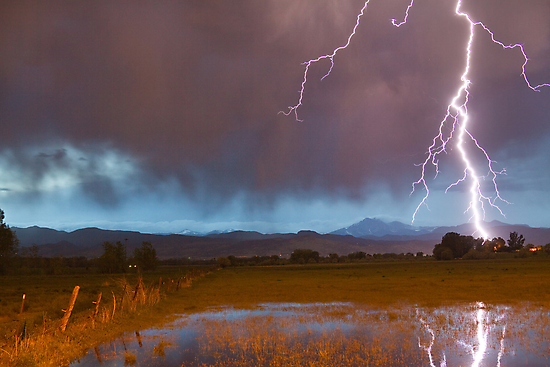 Lightning Striking Longs Peak Foothills 5 by Bo Insogna