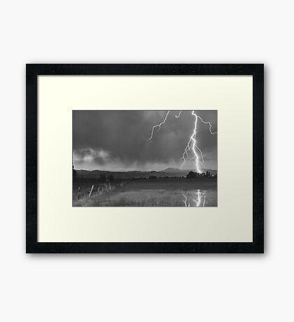 Lightning Striking Longs Peak Foothills 5BW Framed Print