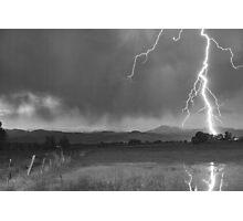 Lightning Striking Longs Peak Foothills 5BW Photographic Print