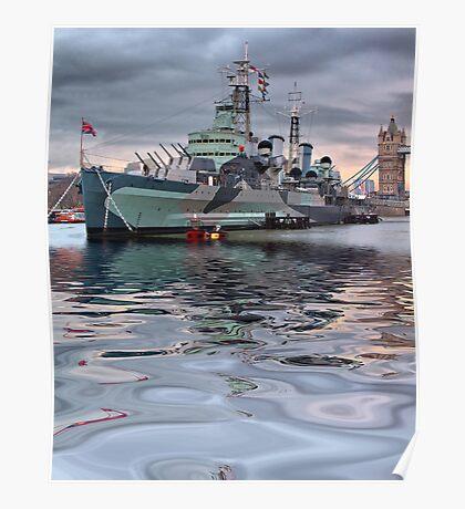 HMS Belfast At Twlight Poster