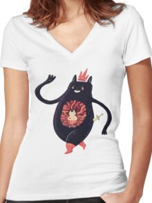 King eats King Women's Fitted V-Neck T-Shirt