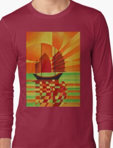 Junk on Sea of Green Cubist Abstract Long Sleeve T-Shirt