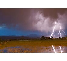 Lightning Striking Longs Peak Foothills 8 Photographic Print