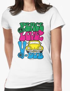 PEACE LOVE V-DUB - BEETLE Womens Fitted T-Shirt