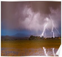 Lightning Striking Longs Peak Foothills 8C Poster
