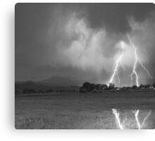 Lightning Striking Longs Peak Foothills 8CBW Canvas Print