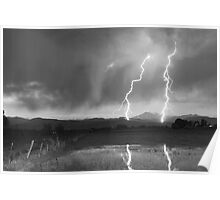 Lightning Striking Longs Peak Foothills 8BW Poster