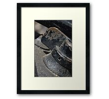 Lens reversal of old camera detail macro shot with ice light 4  Framed Print