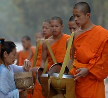 Buddhist Monks Laos by Bob Christopher