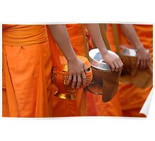 Buddhist Monks Luang Prabang Laos Poster