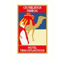 Vintage style 1920s Casablanca travel advertising  Art Print