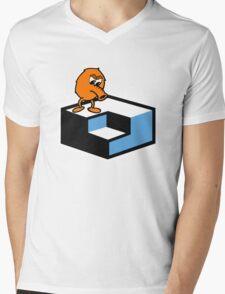 Q*Bert Skateboarding Mens V-Neck T-Shirt