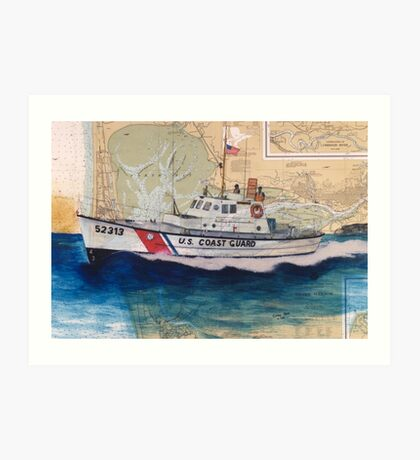USCG Lifeboat Invincible Nautical Map Cathy Peek Art Print