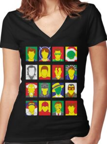 Faces of Carrey Women's Fitted V-Neck T-Shirt