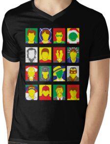 Faces of Carrey Mens V-Neck T-Shirt