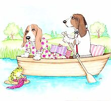 Basset Hounds in a Row Boat by judzart
