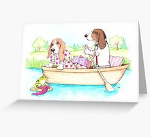 Basset Hounds in a Row Boat Greeting Card