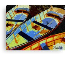 Blue and yellow Boats Canvas Print