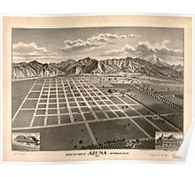Panoramic Maps Bird's eye view of Azusa Los Angeles Co Cal 1887 Poster