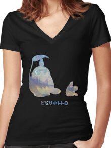 My Winter Neighbour Totoro Buddy Black Women's Fitted V-Neck T-Shirt
