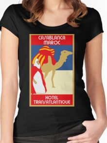 Vintage style 1920s Casablanca travel advertising  Women's Fitted Scoop T-Shirt