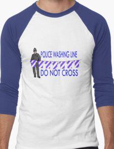 police washing line do not cross  Men's Baseball ¾ T-Shirt