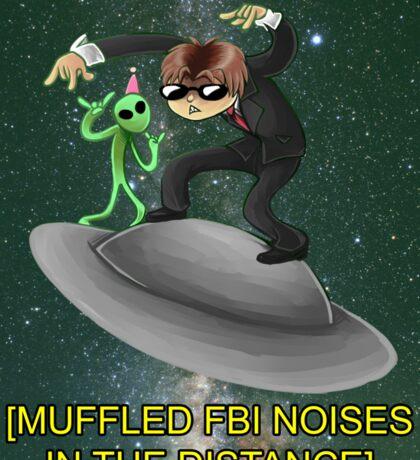 muffled fbi noises in hte distance Sticker
