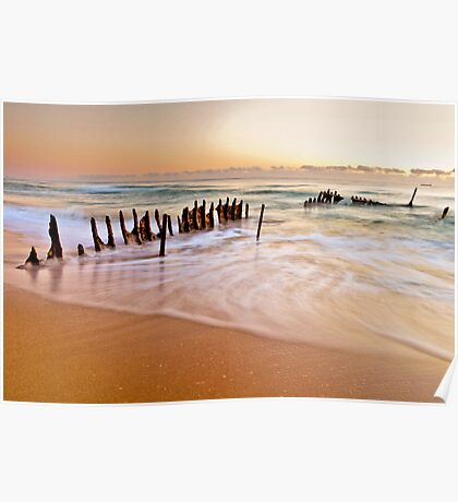 Morning at the Beach Poster