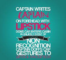 Captain's Lipstick Inscription by KitsuneDesigns
