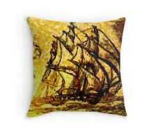 A digital painting of A Clipper Ship Racing the Sun Throw Pillow