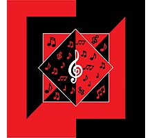 Stylish Art Deco Music Notes Red Black White Photographic Print