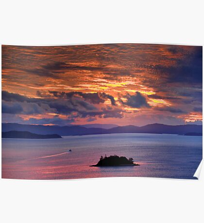 Sunset over the Coral Sea Poster