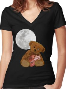 bear with a heart Women's Fitted V-Neck T-Shirt