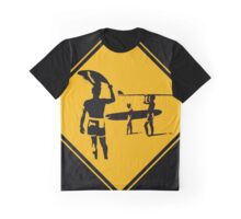 Caution sign. The endless summer surfing design. Graphic T-Shirt